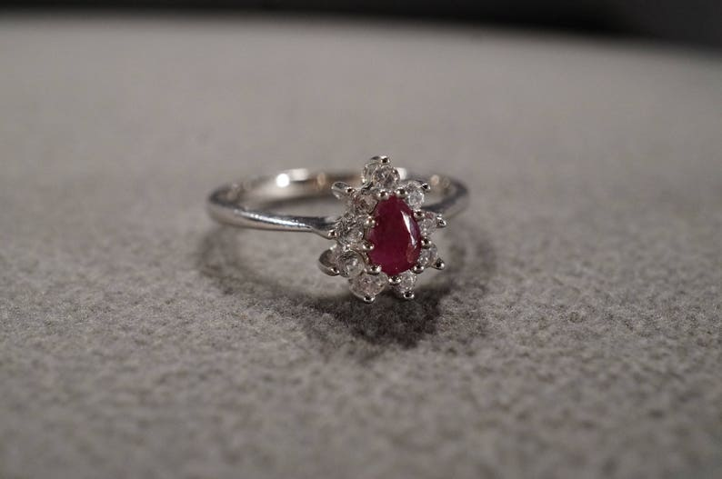 Vintage Serling Silver Band Ring Pear Prong Set Ruby 9 Round White Topaz Fancy Halo Design Size 11