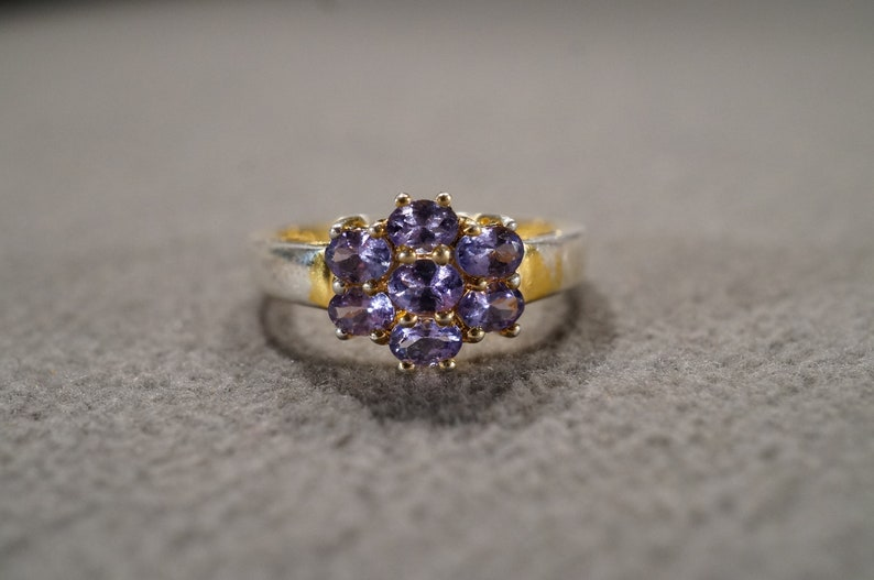Vintage Sterling Silver Yellow Gold Overlay  Band Ring 7 Round Prong Set Tanzanite Fancy halo Design Setting Art Deco Style Size 7