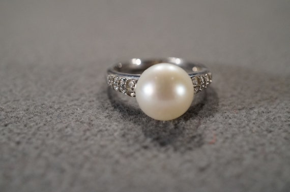 Vintage Sterling Silver Band Ring 19 Round Pear Prong Set Cultured Pearl  Diamond Raised Relief Ribbed Design Setting Art Deco Style Size 7
