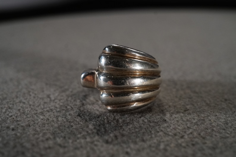 Vintage Sterling Silver Wedding Cigar Band Stacker Design Ring Raised Ribbed Design Setting Art Deco Style Size 7