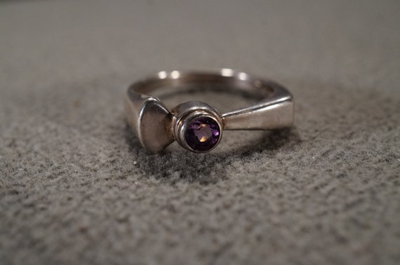 Size 9 Vintage Sterling Silver Wedding Band Stacker Design Ring 5 Prong Set Marquise African Amethyst East West Setting Art Deco Style
