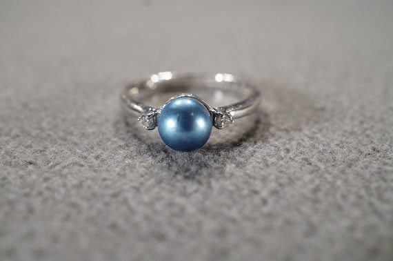 Vintage Sterling Silver Band Ring 7 Round Marquise Prong Set Blue Clear Cubic Zirconia Multi Stone Design Setting Art Deco Style Size 6