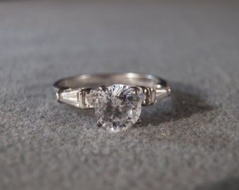 Vintage Sterling Silver  3  Round  2 baguette Cubic Zirconia  Fancy Engagement  Style  Wedding Band  Ring, Size 8