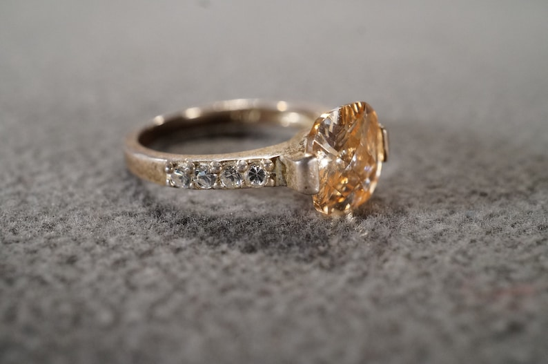 Vintage Sterling Silver Band Ring 9 Round Square Prong Set Golden Citrine White Topaz Classic Art Deco Style Setting Size 7
