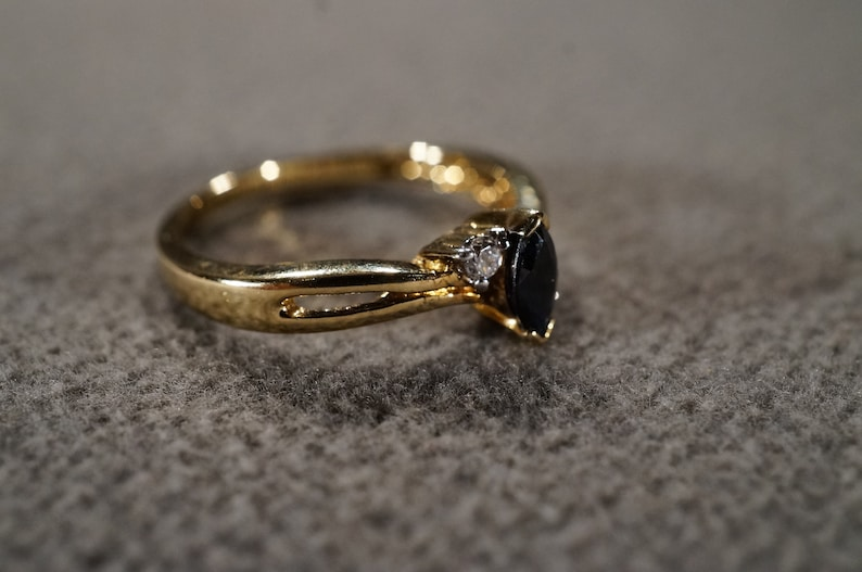 Size 8 Vintage Sterling Silver Gold Overlay Band Ring 3 Round Marquise Prong Set Blue Sapphire Diamond Bypass Design Setting Art Deco Style