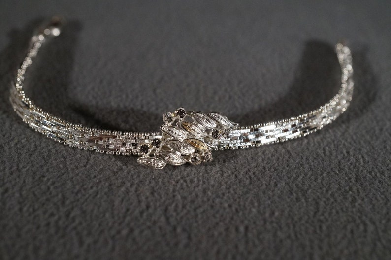 Vintage Sterling Silver Italian 8 Round White Topaz Fancy Etched Raised Relief Center Medallion Woven Link Bracelet    #580      **RL