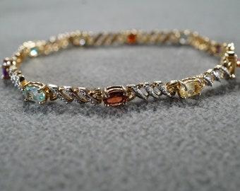 Vintage Sterling Silver Gold Overlay Tennis Style Bracelet 9 Round Oval Prong Set Amethyst Diamond Blue Topaz Citrine Peridot Garnet  #1854
