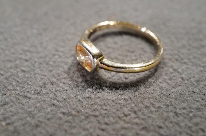 Vintage Sterling Silver Band Ring Bezel Set Rectangle Golden Citrine Classic Design Setting Size 7