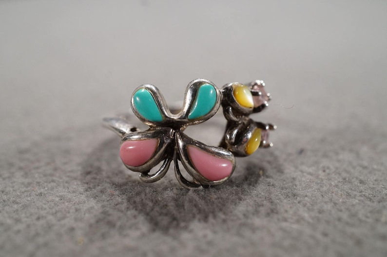 Vintage Sterling Silver Wedding Cigar Band Style Ring 8 Pear Round Angel Coral Pink Topaz Mother Of Pearl Turquoise Butterfly Design Size 8