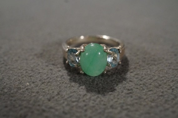 Handmade Jewelry Inexpensive Green Malachite Sterling Silver Overlay Ring Size 7 US