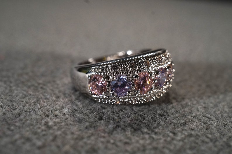 Vintage Sterling Silver Wedding Band Stacker Design Ring 21 Round Prong Set White Pink Topaz Amethyst 3 Row Design Setting Art Deco Style 6