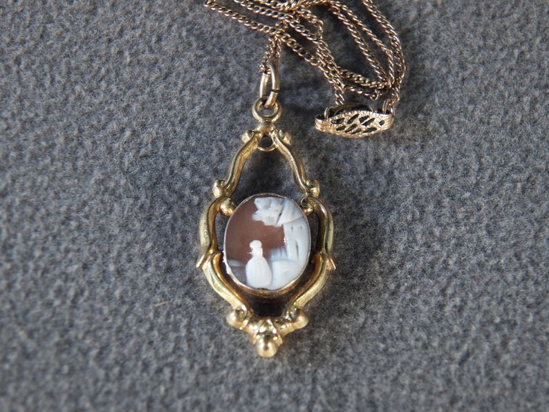 Vintage 12 K Yellow Gold Filled Fancy Carved Landscape  Figural Victorian Style Cameo Pendant Charm Lavaliere Necklace Chain         **RL