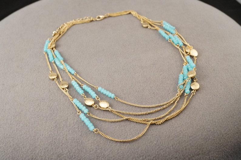 Vintage Yellow Gold Tone Multi Round Fancy Faceted Robins Egg Blue Glass Stone 6 Strand Necklace