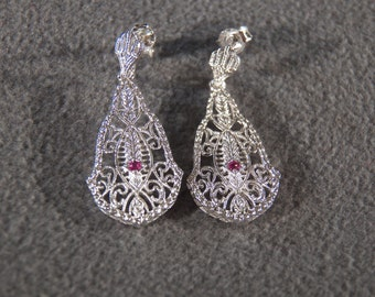 Vintage Sterling Silver 2 Round ruby Fancy Filigree Etched Victorian Style Pierced Earrings