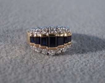 Vintage Sterling Silver Yellow Gold Overlay Multi Round Baguette 3 Row Blue Clear Cubic Zirconia Wedding Band Ring, Size 6        **RL