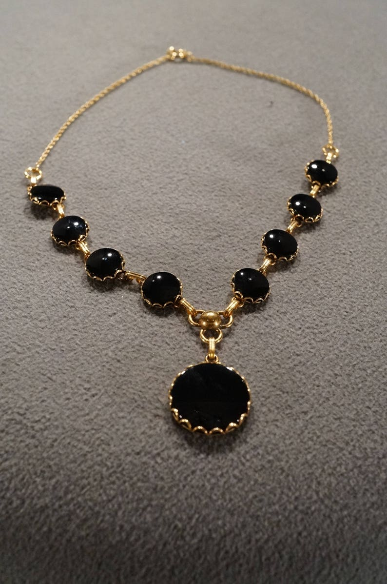 Vintage 12 K Yellow Gold Filled Bib Style Necklace Chain 9 Round Black Onyx Art Deco Style      #1407