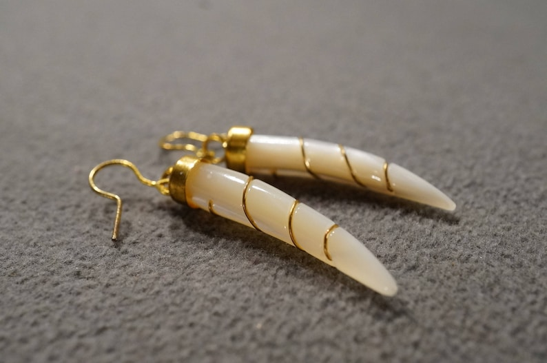 Vintage 12 K Yellow Gold Filled Dangle Style Pierced Earrings 2 Oblong Horn Mother Of Pearl Gold Wire Wrapped Euro Wire Design      #1602