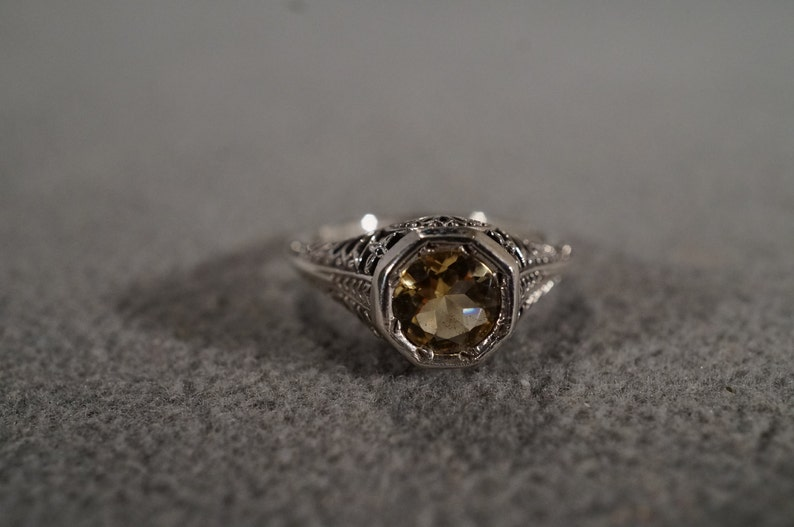 Size 6 Vintage Sterling Silver Band Ring Round Golden Citrine Fancy Filigree Scrolled Etched Victorian Style