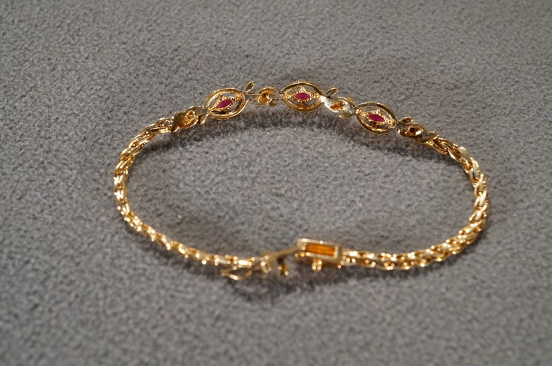 Vintage Sterling Silver Yellow Gold Overlay Station Link Design Bracelet 7 Round Marquise Prong Set Ruby Diamond Art Deco Style        #2209