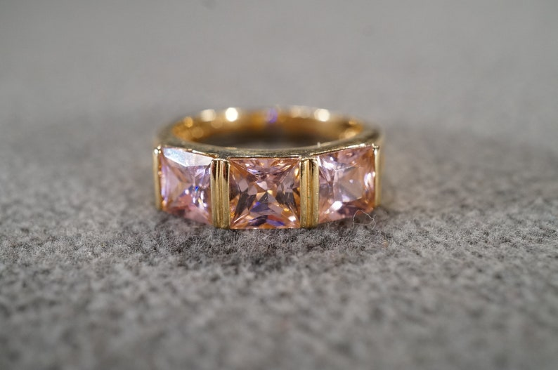 Size 8 Vintage Sterling Silver Yellow Gold Overlay Wedding Band Stacker Design Ring 3 Bezel Set Pink Topaz Art Deco Style
