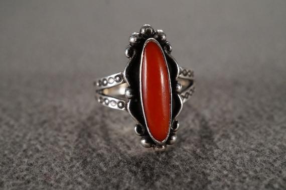 Vintage Sterling Silver Pierced Earrings Half Hoop 4 Oval Bezel Set Red Coral Turquoise Raised Scrolled Setting Southwestern Style     #3013