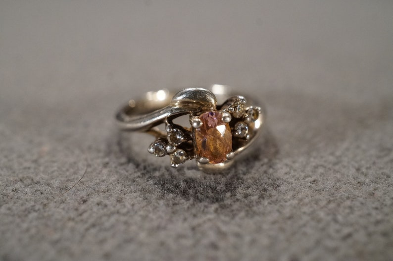 Vintage Sterling Silver Band Ring 7 Oval Round Prong Set Pink White Topaz Bypass Multi Stone Setting Setting Art Deco Style,Size 7