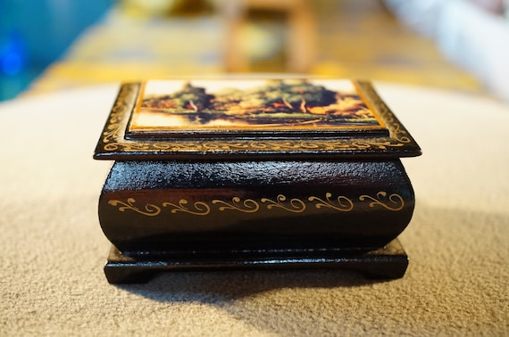 Russian Jewelry box Vintage Large Hand Painted Russian signed Lacquer trinket hinged original paperwork