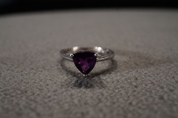 Vintage Sterling Silver Wedding Band Stacker Design Ring 5 Prong Set Marquise African Amethyst East West Setting Art Deco Style Size 9