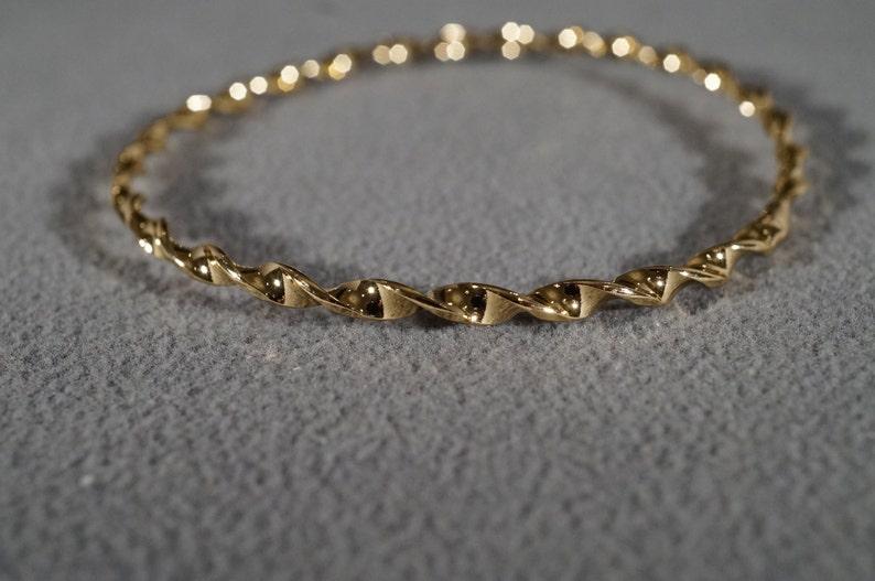 Vintage Yellow Gold Tone Raised Fancy Twisted Curved Design Eternity Style Stacker Bangle Bracelet
