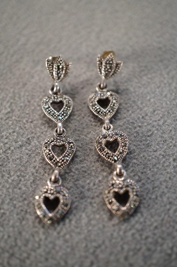 Vintage Preco sterling silver teardrop shaped pierced earrings with glittering light brown hearts /& swirl patterns ; 58 x 38 in.