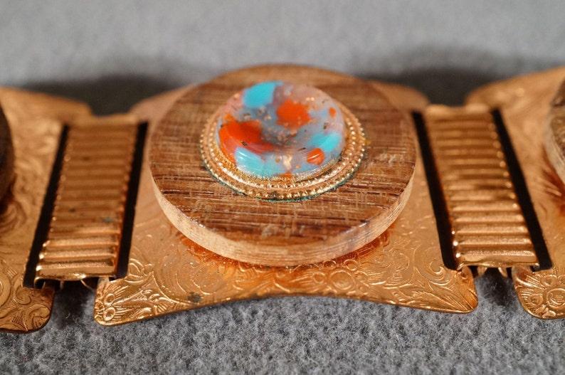 Vintage Southwestern Style Copper Art Glass Wood Fancy Scrolled Etched Line Link Station Clip On Earring SET    #497       **RL