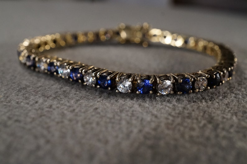 Vintage Sterling Silver Gold Overlay Tennis Bracelet 40 Round Prong Set Blue Clear Cubic Zirconia Line Link Station Art Deco Style     #2732