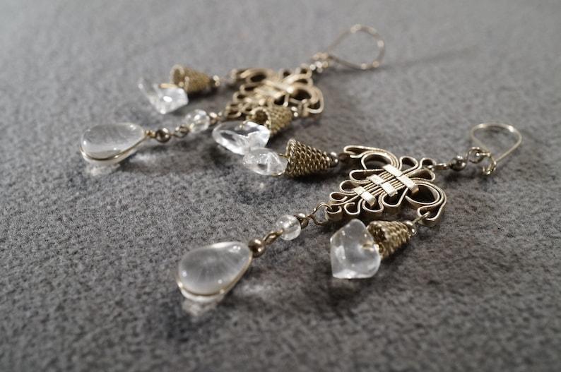 Vintage Sterling Silver Pierced Dangle Chandelier Earrings 8 Round Oblong Pear Quartz Fancy Scrolled Setting Victorian Style