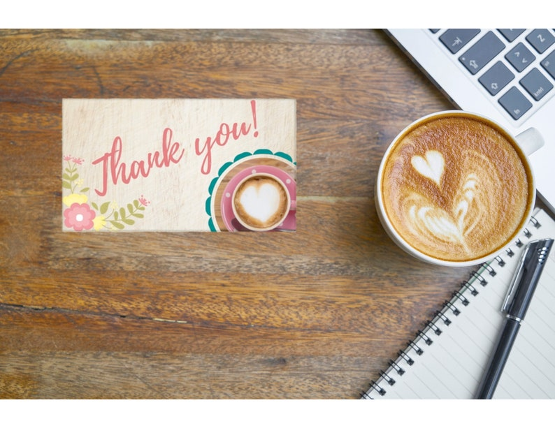 Flowers and Coffee Thank you track card  Brown with Flowers /& Coffee Business card  Mini note card; PRINTABLE NOTE CARD Size Avery 5371