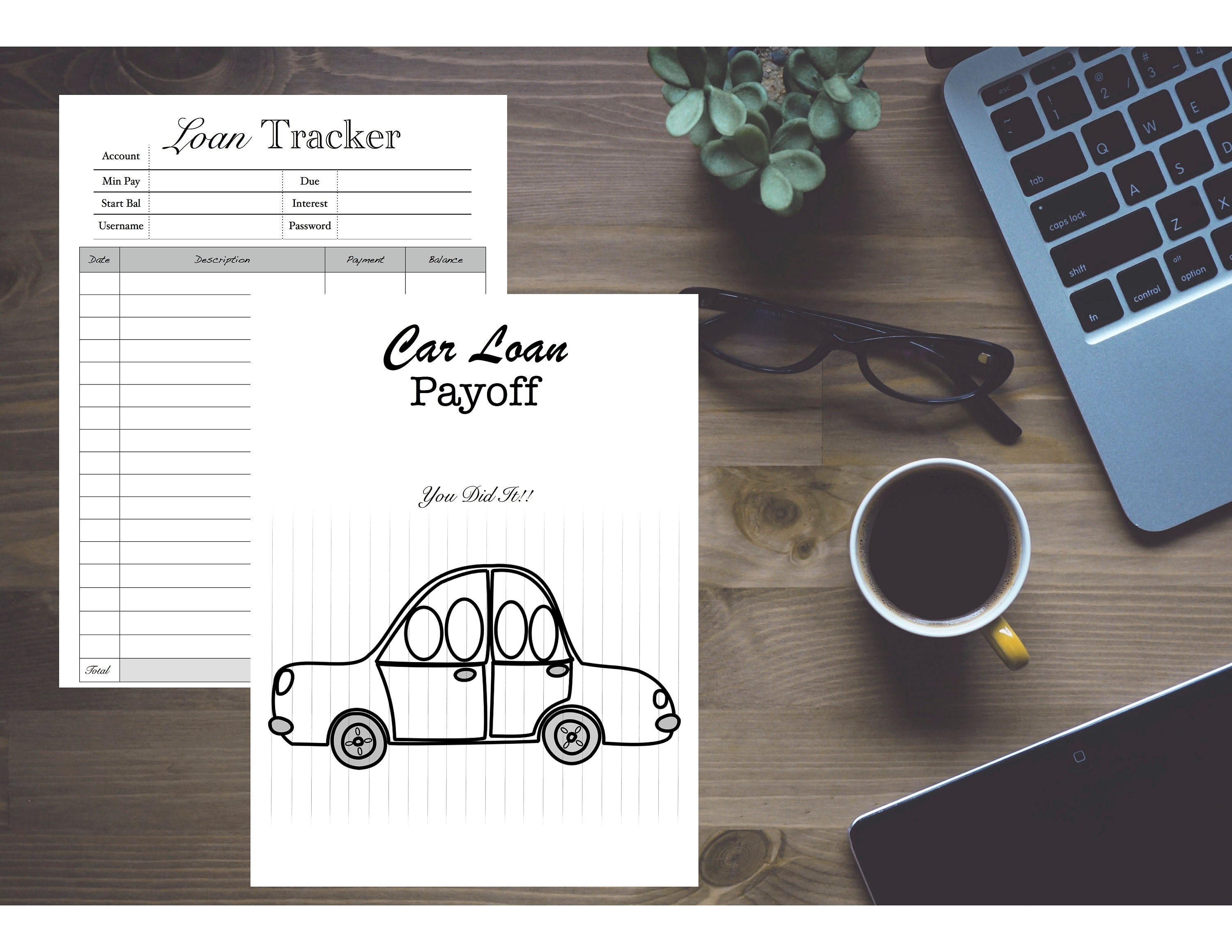 Car Loan Payoff Debt Chart Tracker Refill Insert With Etsy