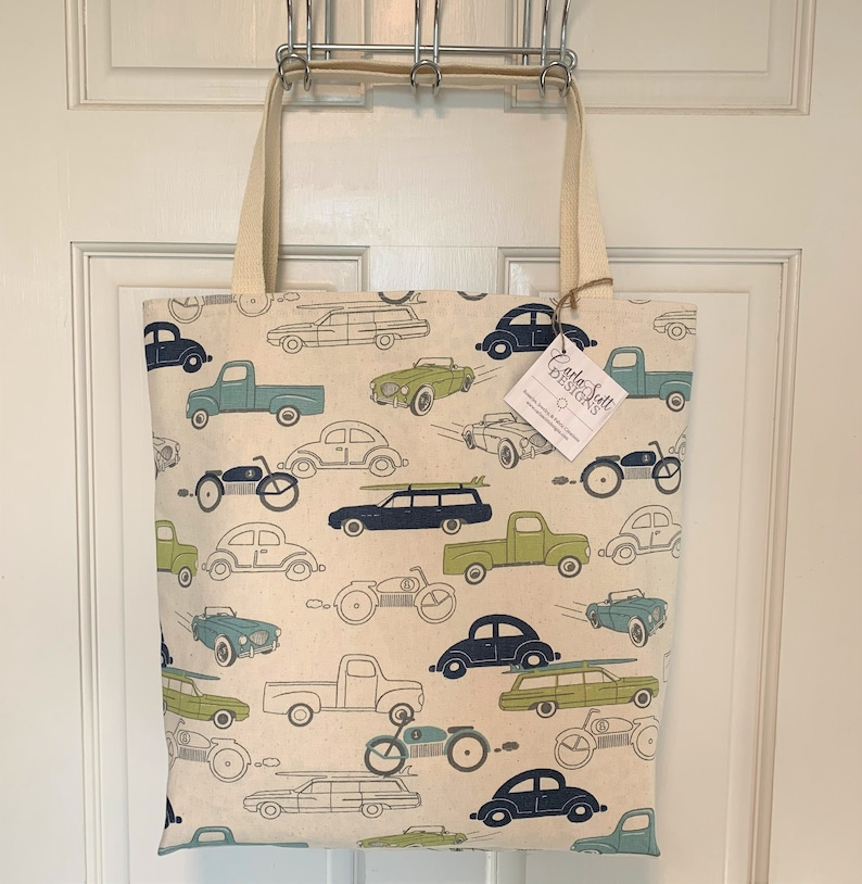 Classic Cars Blue Green Duck Cloth Tote Bag grocery market library