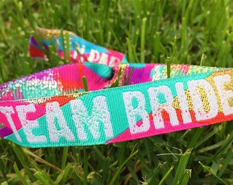 Team Bride (Multi-Coloured) Hen Party Wristbands - Bride Tribe - Hen Do Wristbands - Bachelorette Party Favours - Hens Accessories