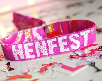 HENFEST Hens Party Wristbands - Festival Hen Party - Wristband - Bachelorette Party - Favours - Hen Party Accessories