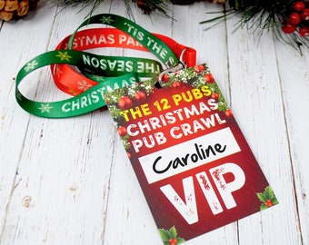 THE 12 PUBS Christmas Party Pub Crawl List VIP Lanyard Guides - Christmas Party Favours - Party Bag Fillers -  Christmas Accessories