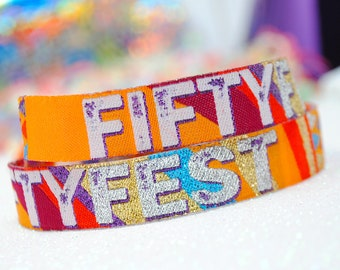 FIFTY FEST 50th Birthday Party Wristbands Festival Style  - 50FEST - birthday party wristbands - 50th party favours accessories