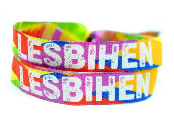LESBIHEN Bride Pride Lesbian Gay Hen Party Rainbow Festival Wristband Favours
