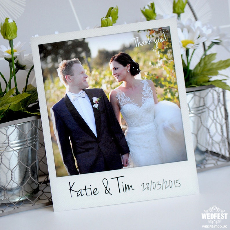 Personalised Instant Photo Wedding Thank You Cards x 50pcs
