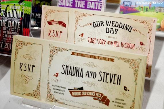 Vintage Chic Ticket Hochzeits Einladungen Proben Festival Etsy
