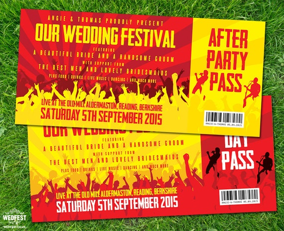 Konzert Ticket Hochzeits Einladungen Probepackung Etsy
