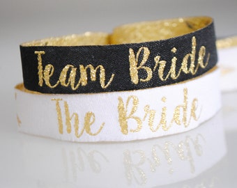 Team Bride Hen Party Wristbands - Black & Gold Bachelorette Party - Hen Party - Wristbands - Bachelorette Party - Hen Party Favours