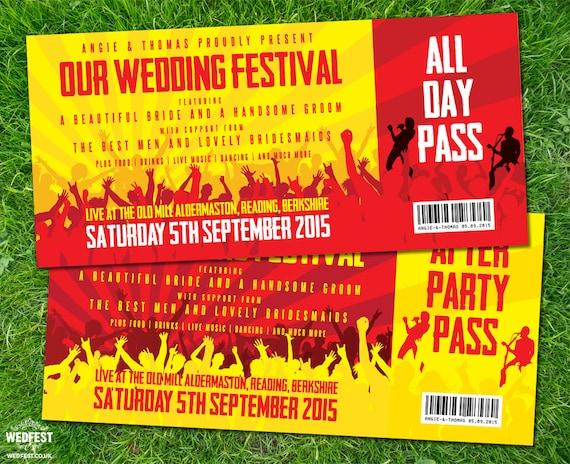 Festival Tickets Hochzeits Einladungen Probepackung Etsy