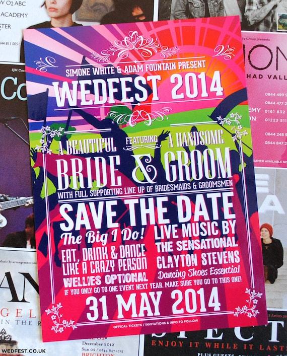 Hochzeit Festival Save The Date Karte Und Einladungen Musik Etsy
