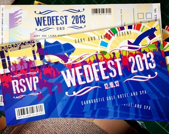 Festival Wedding Ticket Invitations (samples) | Festival Bride | Concert Tickets Invites | Music themed wedding