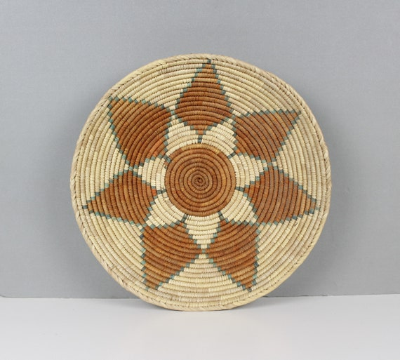 Vintage Handmade Coil Basket Bowl Tray with Handles in Natural and Brown Boho Decor 13.25