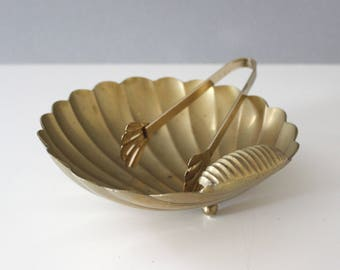 CLEARANCE Vintage Brass Shell Candy Dish With Tongs Serving Bowl